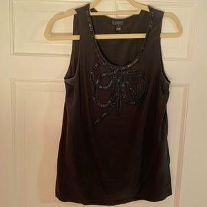 Sleeveless beaded bow embellished black top